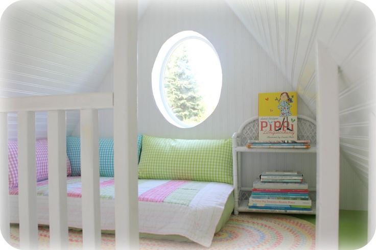Inside of the playhouse. I want a reading loft for me! Stocked with a Zo hot water dispenser, lots of fancy teas and a great stack of books.  A window unit air conditioner would be a must!