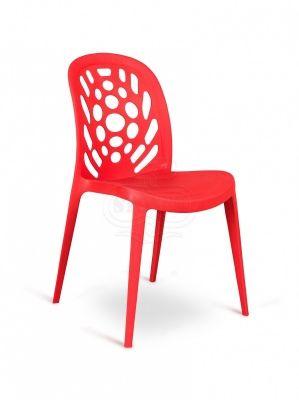 4 Sedie Moderne Lavorate in Polipropilene Rosso