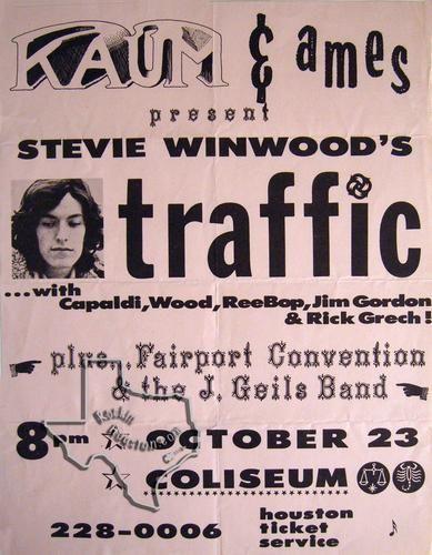 Traffic, Fairport Convention, J. Geils Band, Oct 23, 1971, Sam Houston Coliseum