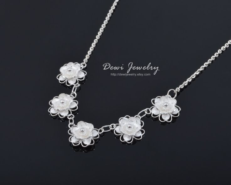 Sterling Silver Filigree Tiny Roses Necklace