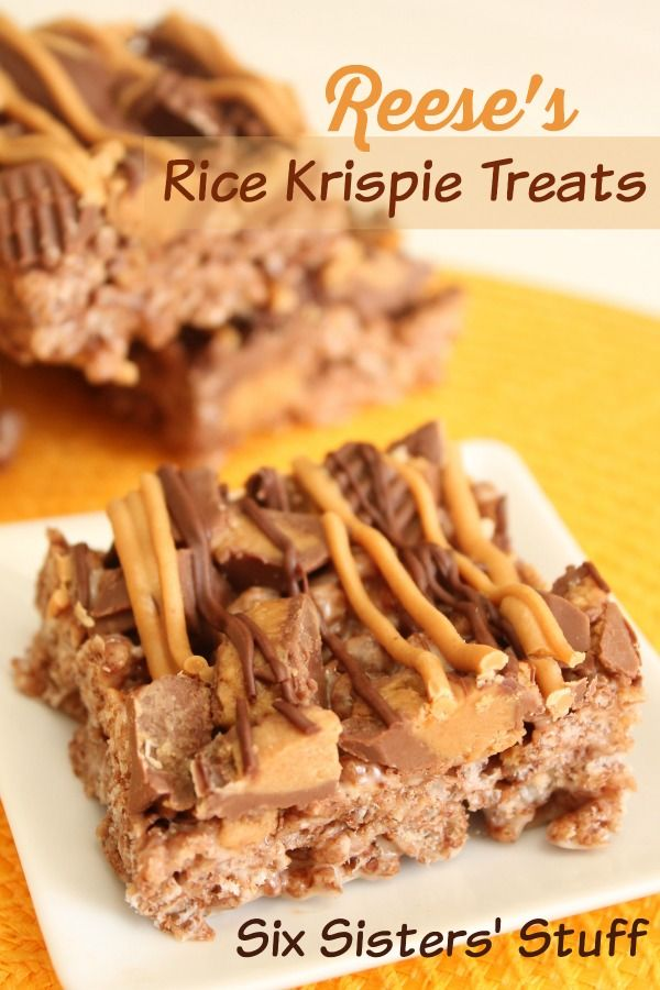 These Reese's Rice Krispie Treats are loaded with goodness! | SixSistersStuff.com