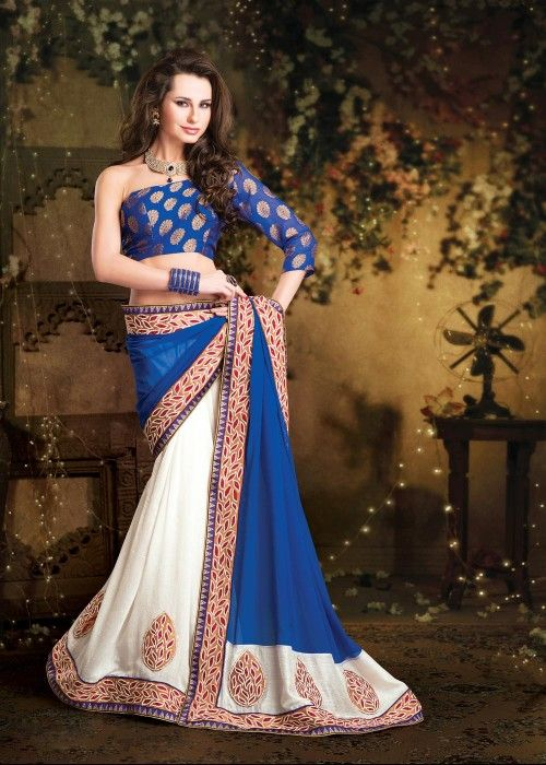 White Blue Half Half Saree Shop at - http://gravity-fashion.com/15787-white-blue-half-half-saree.html  See more at - http://www.scoop.it/t/half-sarees-collection