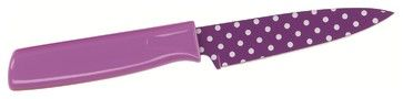 Kuhn Rikon Paring Knife  Purple Polka Dot modern knives and chopping boards