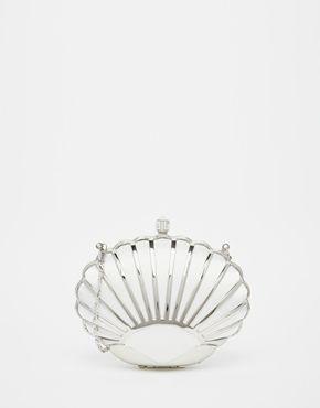 Vintage Styler – Silberne Hartschalen-Clutch