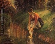 Young Woman Bathing Her Feet  by Camille Pissarro