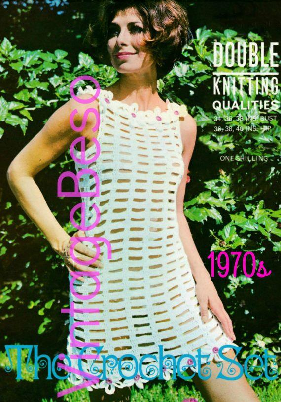 Crochet Pattern Dress Fashionable Vintage 1960s