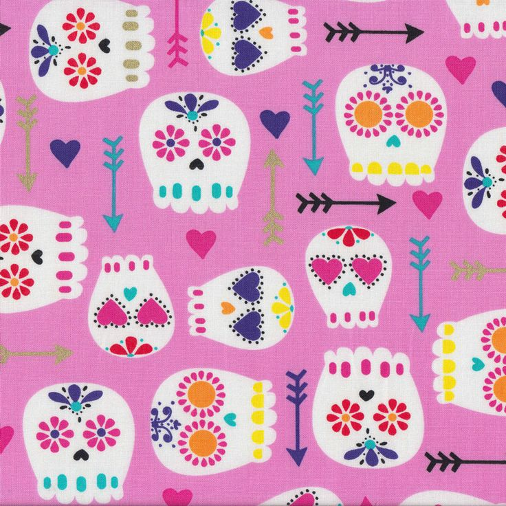 Modern Sugar Skulls With Arrows Love Hearts on Pink Quilt Fabric - Find a Fabric - Available to purchase in Fat Quarters, Half Metre, 3/4 Metre, 1 Metre and so on.
