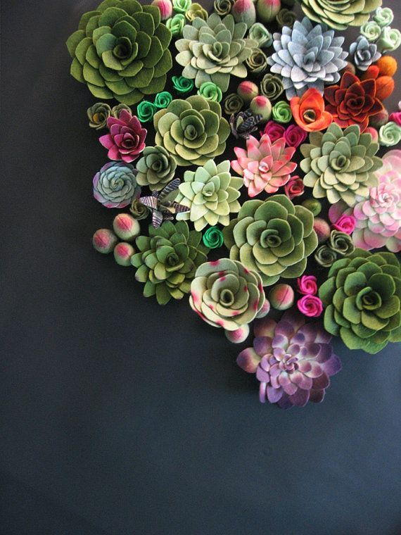 Succulent vertical garden felt plants »Miasole on Etsy