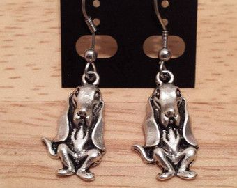 Dog/Teckel/Basset earrings/necklace silver color with surgical steel hook