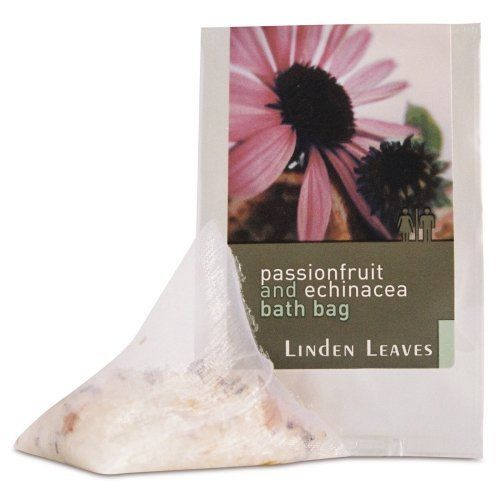 Linden Leaves Bathtime Bath Bag, Passionfruit and Echinacea, 0.53 Ounce by Linden Leaves. $8.00. Drop into the water and allow to steep for a few minutes, before immersing yourself in aromatic bliss. Alternatively, snip the top of the foil outer sachet and let the scented organza bag fragrance your car or drawers. Paraben free. A mineral rich, natural sea salt bath infusion in a hand made organza bag. Infused with an inviting blend of sweet fruity notes and light herba...