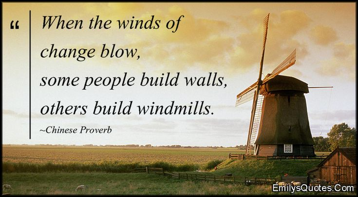 When the winds of change blow, some people build walls, others ... via Relatably.com