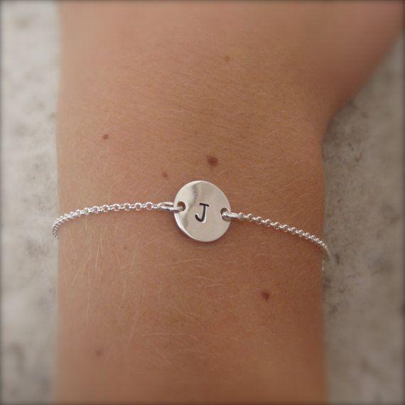 Silver initial bracelet  Simple silver by filigreepheasant on Etsy, $22.00