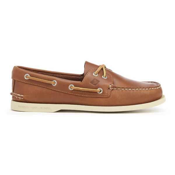 Sperry Men's A/O 2-Eye Leather Boat Shoes - Tan ($110) ❤ liked on Polyvore featuring men's fashion, men's shoes, men's loafers, tan, mens leather lace up shoes, mens sperry topsiders, mens shoes, mens lace up shoes and mens moccasins