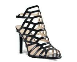 33€ Sandal pump slingback whit decorative geometric structure, black color. Visit our website now!