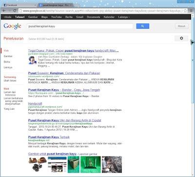 """Hasil SERP di Google dengan kata kunci """"pusat kerajinan kayu"""""""