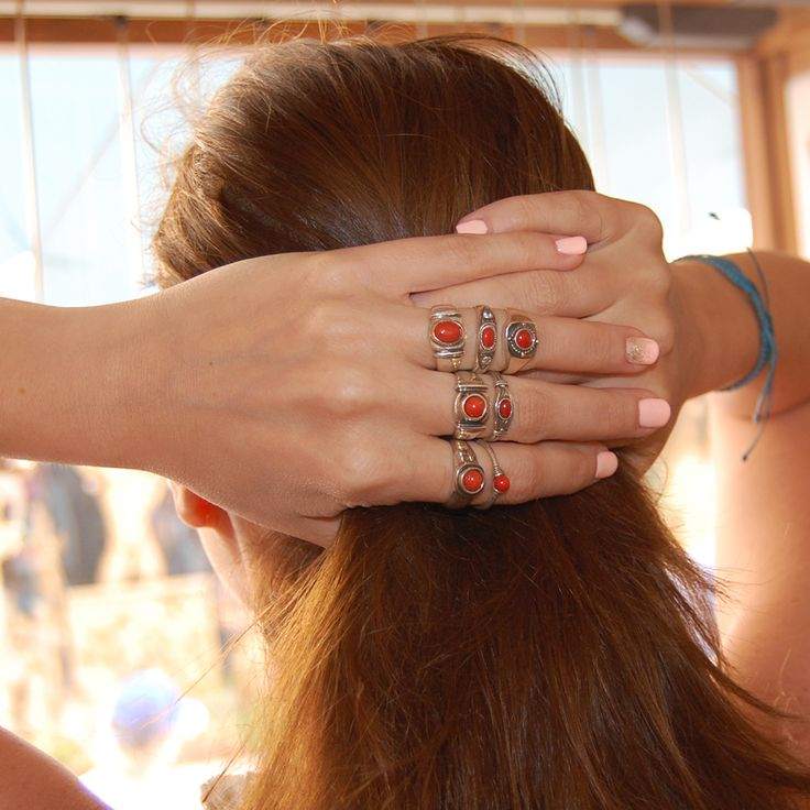 Bohemian look with red coral. Handmade in our workshop by greek hands.