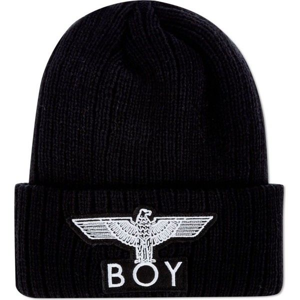 BOY LONDON Eagle appliqué beanie ($54) ❤ liked on Polyvore featuring accessories, hats, beanies, head, black, black hat, boy london beanie, black beanie hat, beanie hats and black beanie