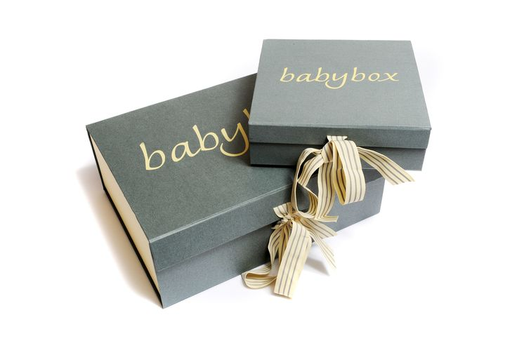 Grey linen textured box with cream sides and grey/cream striped cotton ribbon. Manufactured by Foldabox.