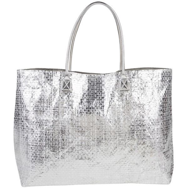 Armitage Avenue Metallic Beach Tote ($33) ❤ liked on Polyvore featuring bags, handbags, tote bags, silver, silver tote, white purse, beach bag, woven tote bags and white tote