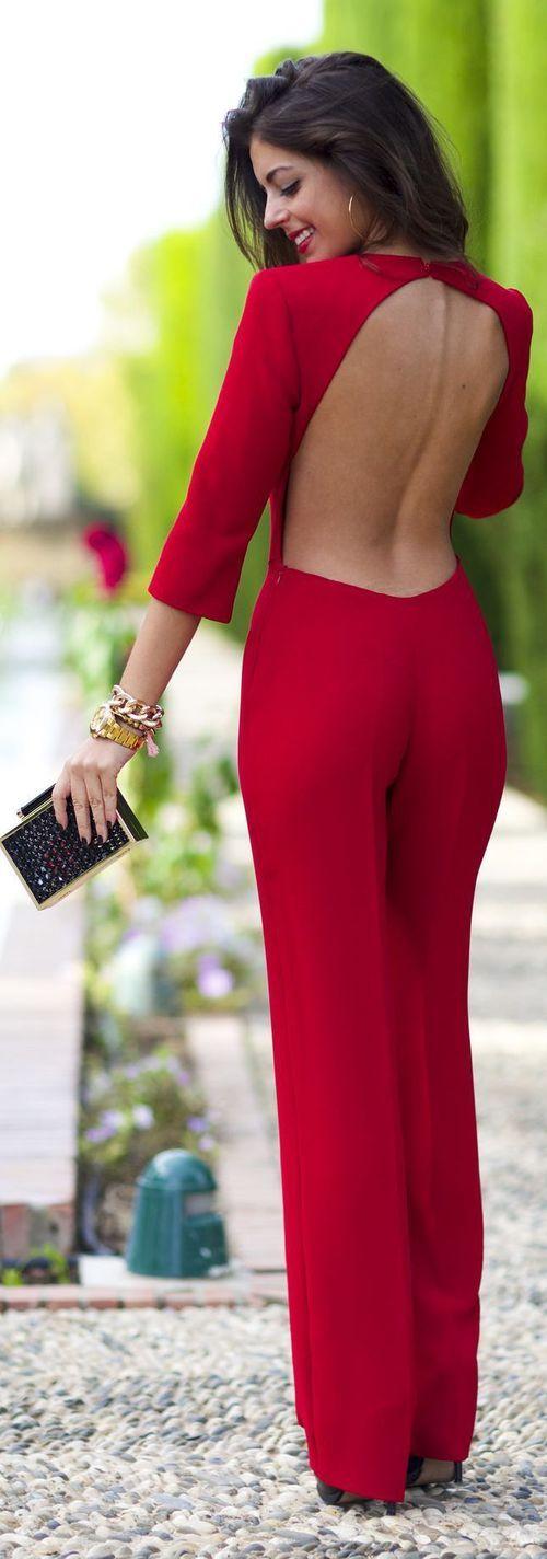 Macacão longo | vermelho | detalhes | costas | costa nua | de manga