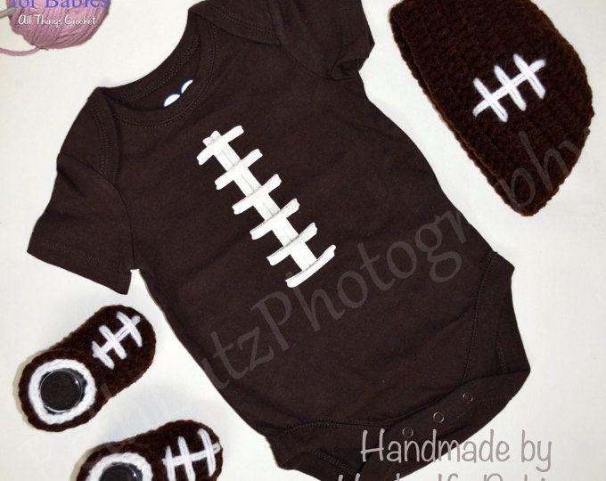 Baby Shower Gift Boy 3-6 months Baby Gift Set, Football Baby Boy Set, Baby Boy Booties, Baby Boy Hat, Baby Boy Onesie, Football Baby Gift