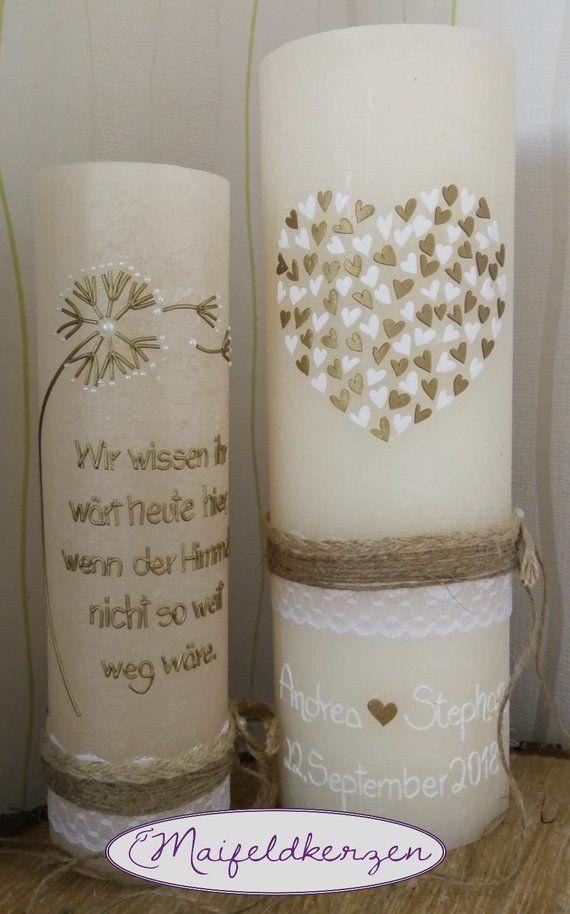 Hochzeitskerze Gedenkkerze Set Pusteblume Elfenbein Gold Vintage Spitze Shabby Landhaus Wedding Candles Candle Set Pillar Candles Wedding