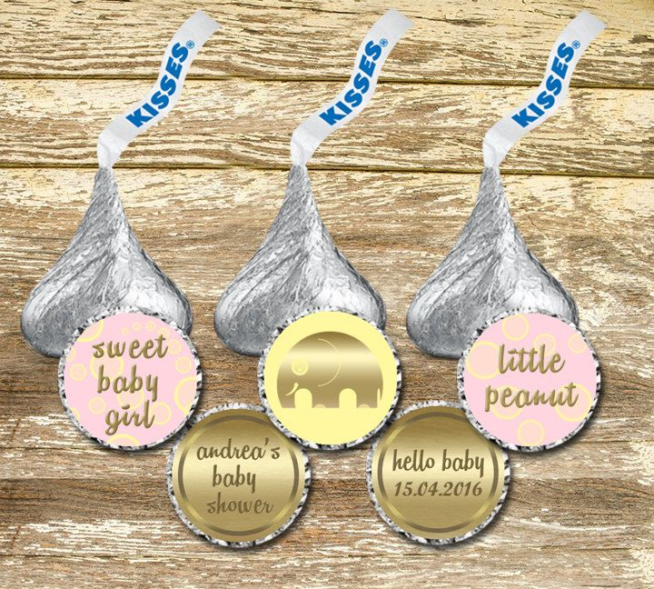 A personal favorite from my Etsy shop https://www.etsy.com/ca/listing/269116223/hershey-kisses-stickerss-baby-shower