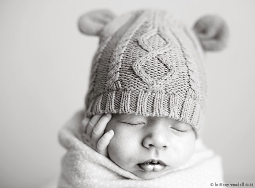 baby hat with ears and cables