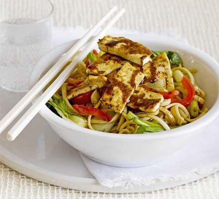 BBC GOOD FOOD - Sesame & honey tofu with rice noodles. 'This tasty ...