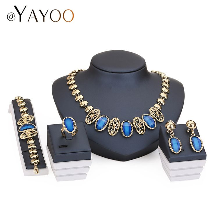 Necklace Ring Bracelet Earrings Gold Plated Fine Jewelry Sets For Women Bridal Imitation Crystal Wedding Dress Accessories Set