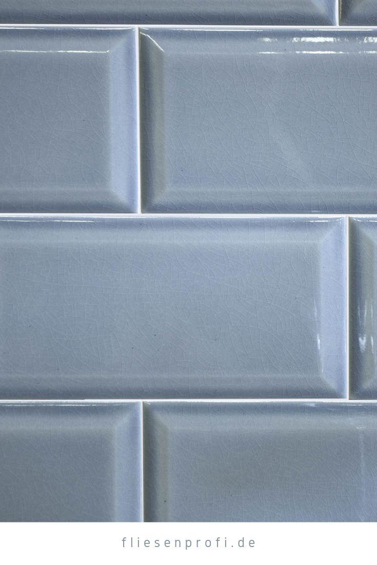 Metro Fliese Küche Bad Craquelé Krakelee blau glänzend 10×20 Facettenfliese 29,90 €/m²