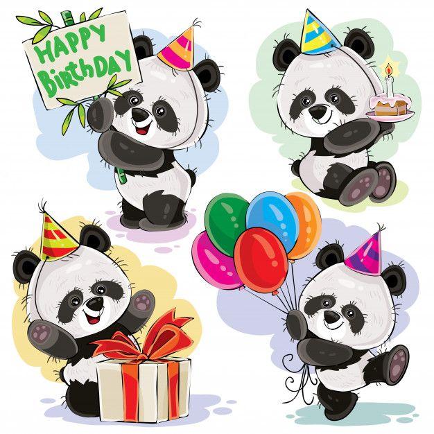 Panda Bear Baby comemora vetor de desenhos animados de aniversário Vetor grátis