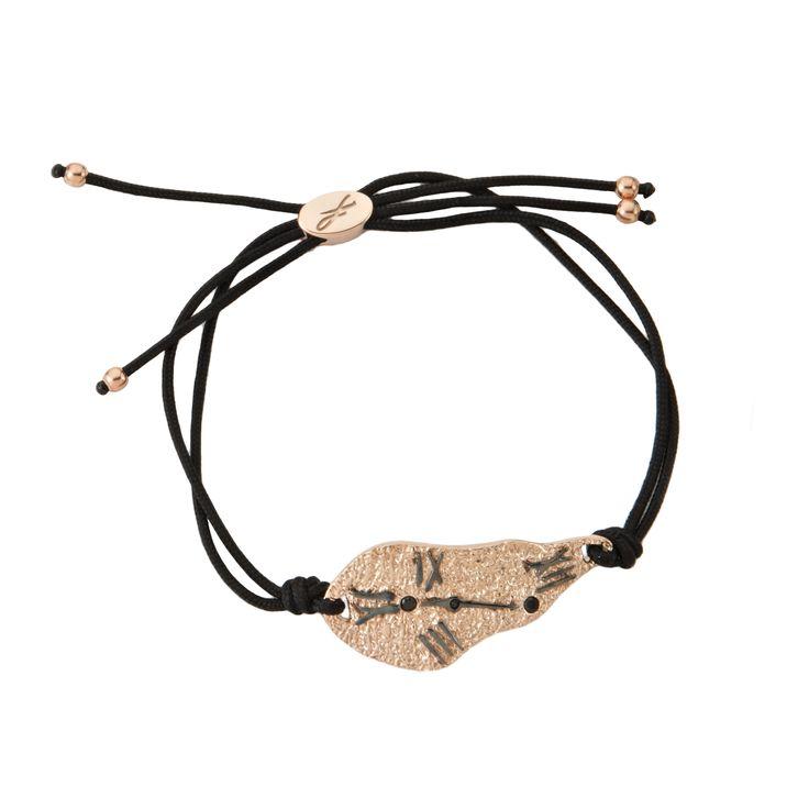 2016 Rose and black gold plated sterling silver sourealism bracelet with cubic zirgonia and a cord.  Dimensions: 35 Χ 17 mm. Γούρι surrealism βραχιολι σε ασήμι 925 επιχρυσωμένο ροζ, με μαύρο επιπλατίνωμα και μαύρες πέτρες σε κορδόνι.  Διαστάσεις : 35 Χ 17 mm.
