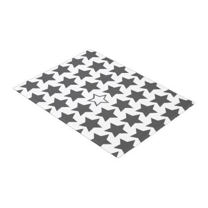 Charcoal Grey & White Stars Door Mat - black gifts unique cool diy customize personalize