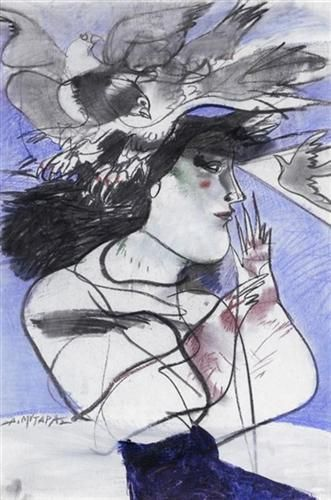 Woman with Doves - Dimitris Mytaras