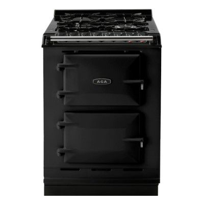 """This powerful AGA range is only 24"""" wide, the perfect size for a tiny house. It features a top performing gas cooktop and two electric ovens, and its appearance is stylish and sleek. Can be converted to use liquid propane in place of natural gas."""