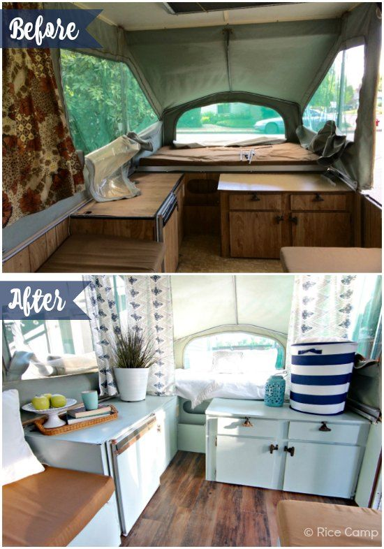 What a difference some paint and flooring can make!  I love how bright and cheery this camper looks now.