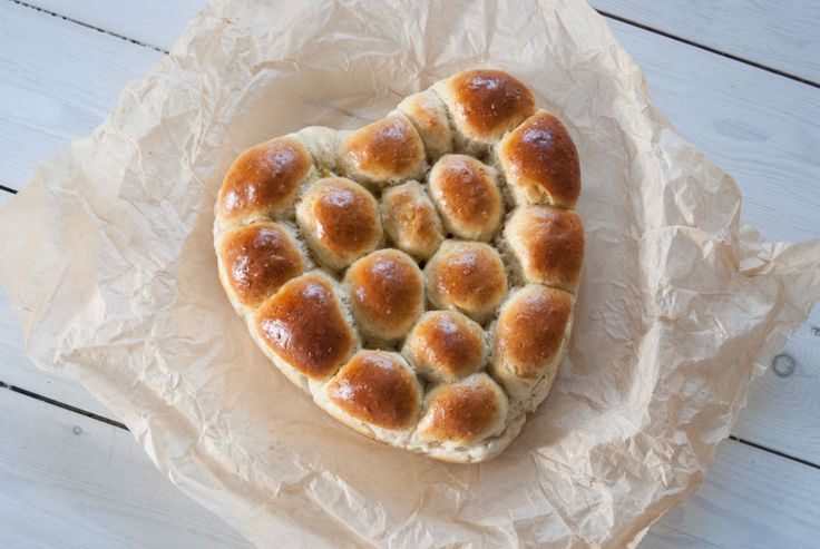 Bread for Valentines Day - buns in a heart shaped pan.