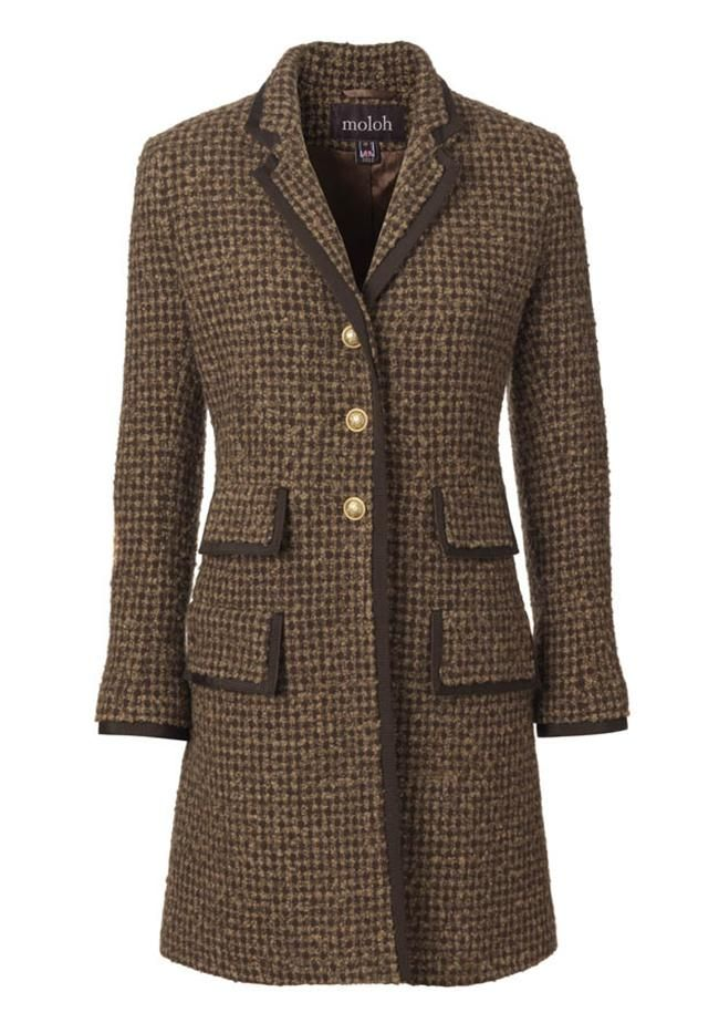 MJS Coat £525  • 100% wool, fully lined, dry clean • Edged in brown grosgrain • Length 89cm • Sizes: 6, 8, 10, 12, 14 • Camel and brown