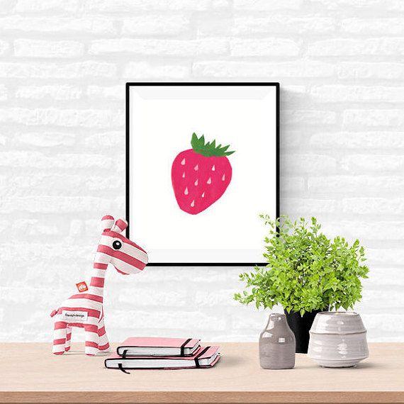 Pink Strawberry Kitchen Print, Fruit Illustration PRINTABLE 8x10 wall art, Digital Download Berry Nursery Art