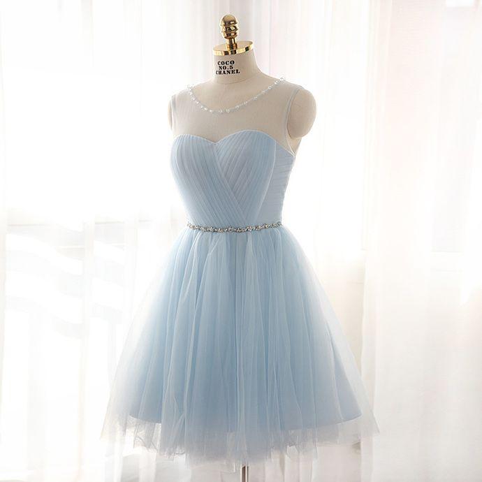 Charming Prom Dress, Light Blue Tulle Prom Dress,Short Homecoming Dress,Elegant Prom Gown by fancygirldress, $125.00 USD