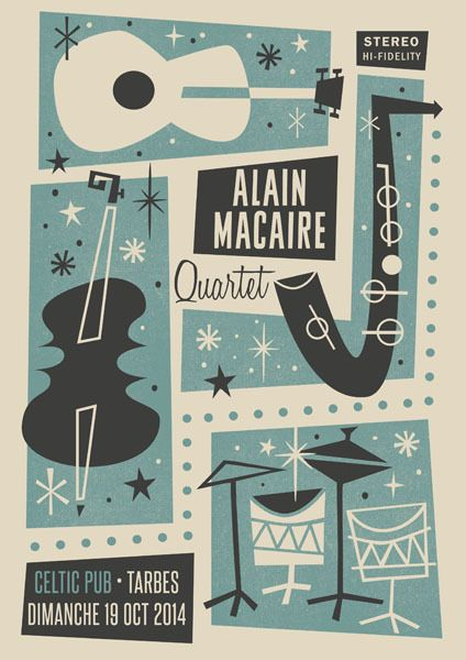 Alain Macaire Quartet (France). Poster design: Jean Mosambi (2014).