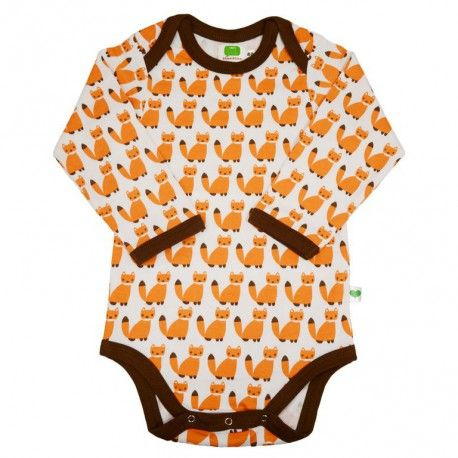 Body long sleeve, fair & organic, white with orange foxes and brown trims, Sture & Lisa