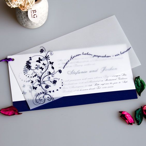 Herzen teilen Heiraten Weiss Blau Schmetterling Einladungen mit Band p OPA061 Watercolor Hochzeit Tischdeko Inspiration   Cobalt Blue & Lemon Yellow Wedding