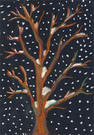 Baum im Schneetreiben - gemalt mit Pastellkreiden