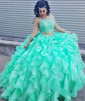 82bea4e190 Long Green Ball Gown Sleeveless Beading Prom Dresses 2019 Two Piece ...