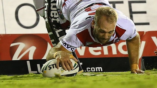 St George Illawarra shocked little brother Cronulla 25-12 to open their 2013 NRL account, the Sharks night made worse with star playmaker Todd Carney helped from the field with a foot injury.