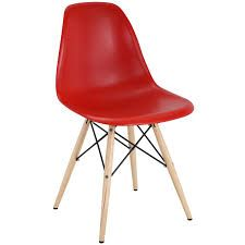 Modway Pyramid EEI-180-RED Red Dining Side Chair with Wood Legs