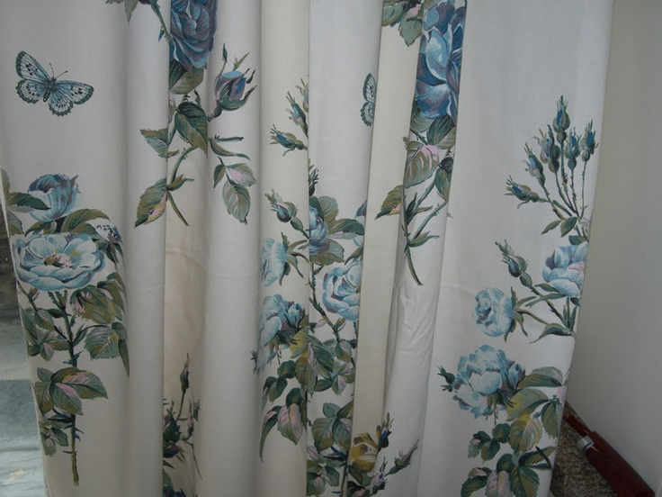 curtains made with laura ashley memento duck egg. Black Bedroom Furniture Sets. Home Design Ideas