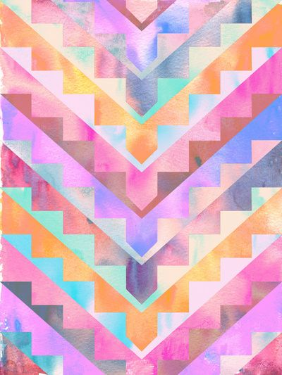 Bermuda Triangle Art Print By Schatzibrown #pastel #tribal #triangle #chevron
